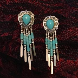 925 Silver and Faux Turquoise Stud Earrings